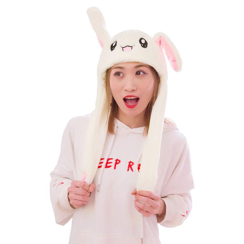 Felice Cute Plush Bunny Hat Funny Moving Ear Hat Kpop Idols Rabbit Ear Hat Kids Action Hat Gag Gift by Felice