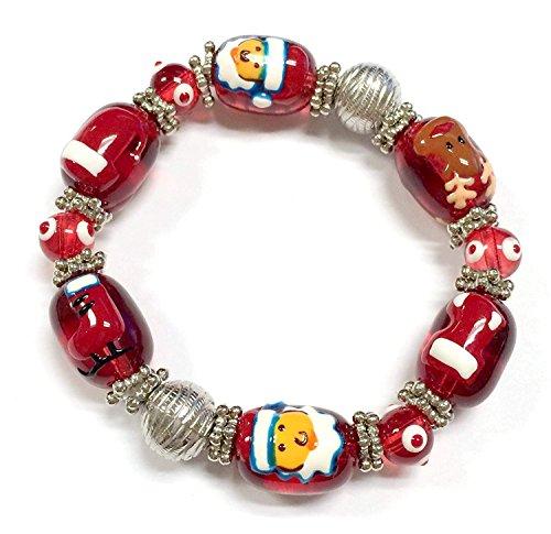 Linpeng Christmas Bracelet 13x17mm Santa, Santa's hat, ski boots, Christmas Stocking Reindeer Red Glass Beads L: 7.5