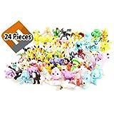 Pokemon Mini Figures Pikachu Toys Topper - Lot of 24 Piece 1'' with Random Bonus