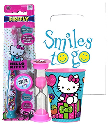 Hello Kitty 4pc Bright Smile Oral Hygiene Bundle! Soft Manual Toothbrush, Brush Cap, Brushing Timer & Mouthwash Rinse Cup! Plus Dental Gift Bag & Tooth Saver Necklace!