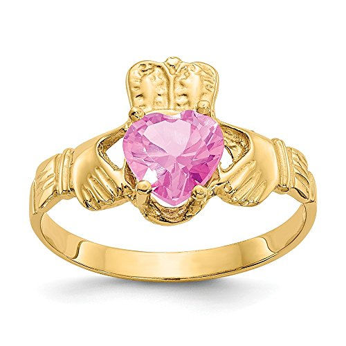 Jewel Tie Size 8.5-14k Yellow Gold October Simulated Birthstone Claddagh Ring (2mm)