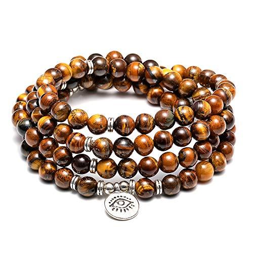 BOMAIL 8MM 108 Mala Beads Charm Bracelet Necklace for Yoga Bracelet Natural Healing Gemstone Jewelry for Women -