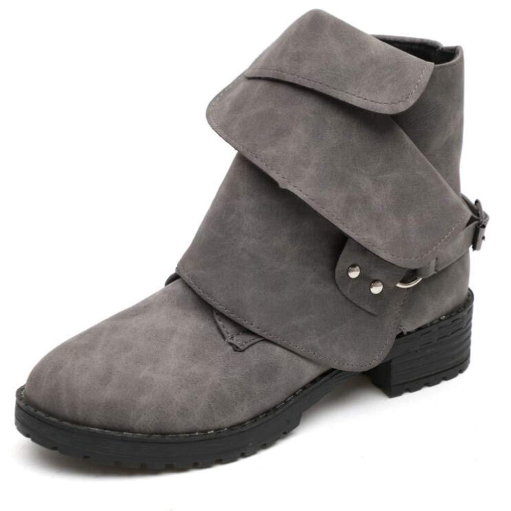 CITW Damenstiefel Herbst Und Winter Große Damen-Kurz Stiefelmode Stiefel Martin Stiefel Wild Stiefel Zwei Tragen Nackte Stiefel,grau,UK3 EUR37