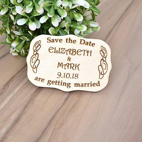 SAVE the DATE MAGNETS for Wedding // Wood Save the Date Magnets - Rustic Wedding Magnets - Wooden Fridge Magnet - Laser Engraved Wood