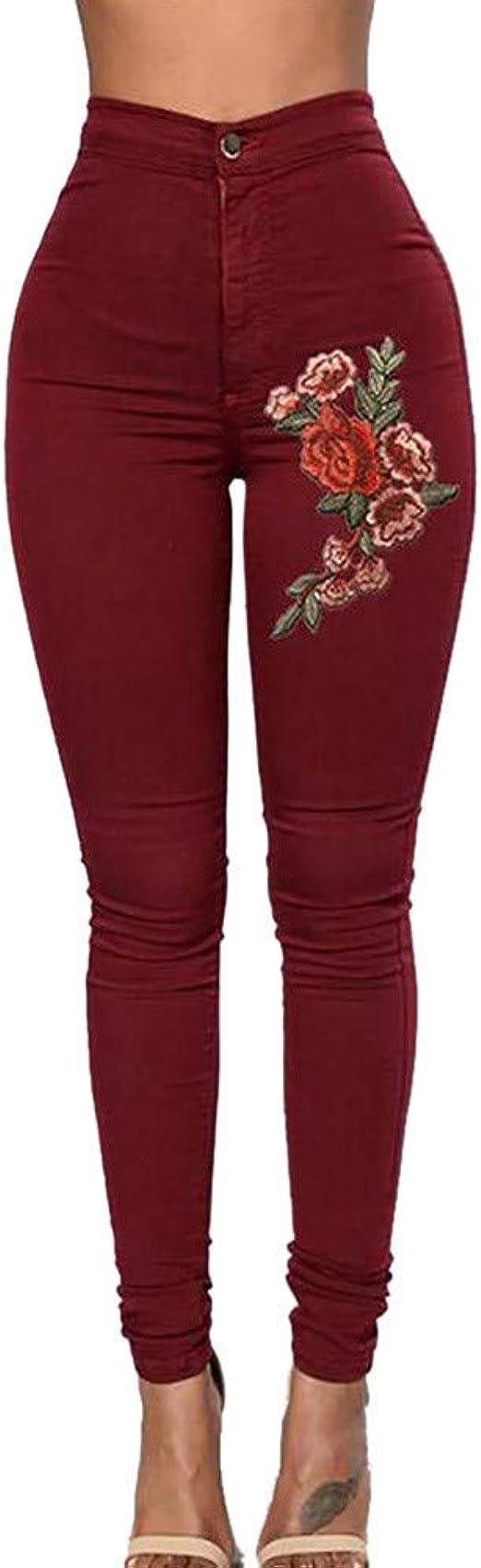 HX fashion ジーンズレディーススリムフィットスキニーフィットジーンズジョガー足上げ足首ストレート脚穴ありストレッチデニムリラックスパンツパッチパンツローズ刺繍ペンシルパンツジーンズ