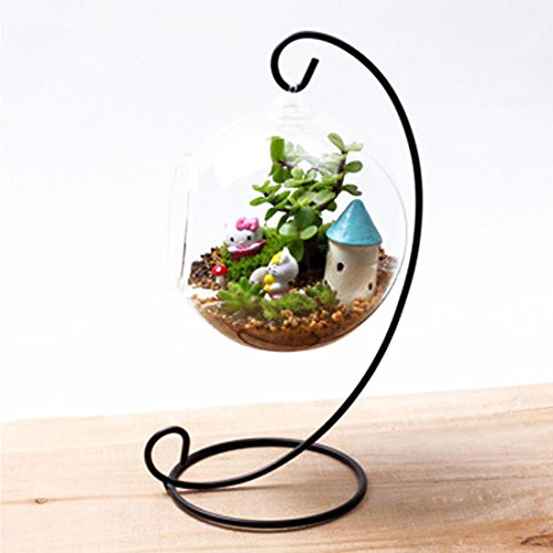 1pc Classical Europe Glass Ball Hanging Stand Candle Holder Wedding Iron Art Home Decoration - Jars Gold Geometric Decorative Hanging Holders Copper Outdoor Iron From Rustic ()
