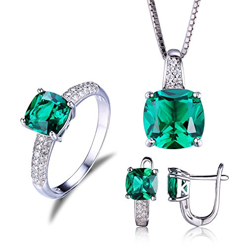 JewelryPalace Women's Cushion 8.3ct Created Green Russian Nano Emerald Jewelry Sets Solitaire Engagement Ring Pendant Necklace Clip On Hoop Earrings 925 Sterling Silver Size 6