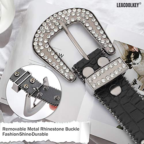 Women Fashion Rhinestone Belt, Western Cowgirl Studded Leather Belt for Jeans