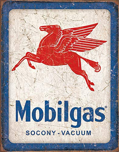 Desperate Enterprises Mobilgas Pegasus Tin Sign, 12.5