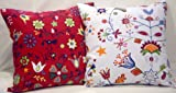 "Two (A Pair) Mix & Match Canvas Cotton Cushion Pillow Cover 19""-20"" - Botanical Flower on Red and White"