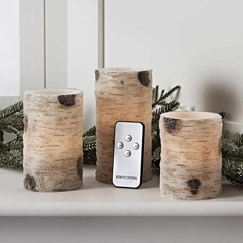 Lights4fun, Inc. Set of 3 Battery Operated Flameless LED Frosted Birch Wax Candles with Remote Control