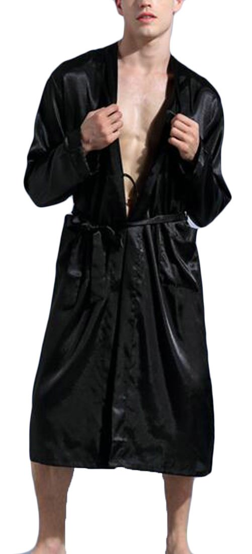 Cromoncent Men Relaxed-Fit Solid Kimono Homewear Long Sleeve Long Bathrobe Black X-Large by Cromoncent