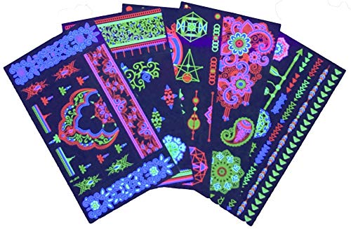 48 UV Blacklight Temporary Tattoos-Glow in the Dark Stars, Bracelets, Festival Tattoos, Henna Temporary Tattoos for Rave, Festival, Party- Neon Glow in the Dark Party Accessories-By FunFamz