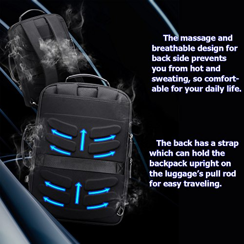 Bopai Business 15.6 inch Laptop Backpack Intelligent Increase Compartment Invisible Anti-theft Laptop Rucksack USB Charging and Water Resistant College Travel Men Backpack, Black by Bopai (Image #5)