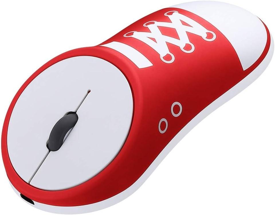 Color : Black JS-Bonita-28 Rechargeable Creative Canvas Shoes 2.4G Wireless Mouse