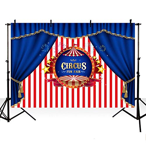 MEHOFOTO Photo Backgroud Circus Themed Fun Fair Blue Curtain Red Stripes Children Party Decoration Backdrops for Photography 7x5ft -