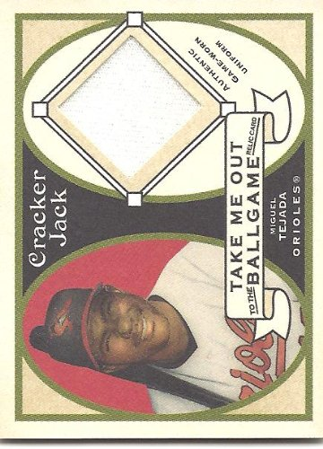 Miguel Tejada 2005 Topps Cracker Jack Take Me Out to the Ballgame Mini Relics Uniform Card #MTE1 Baltimore Orioles