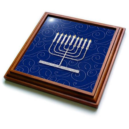 3dRose trv_264277_1 Silver Faux Glitter Menorah Festival of Lights Hanukkah on Blue Trivet with Tile, 8 by 8''