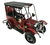 Vintage Lifelike Iron Art Metal Old Car Automobile Model For Home Decoration Christmas Birthday Gift Kids Toy (Red)
