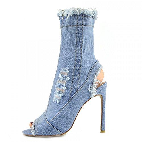 Kick Footwear - Damen Stretch Jeans Über Die Knie Oberschenkel Hohe Open-Toe-Stilettos High Heel Light Denim NF435
