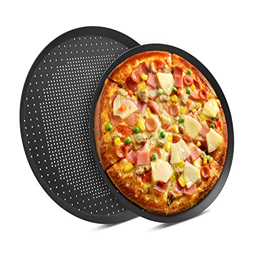 Nonstick Pizza Pans with Holes, Beasea 2 pack 14 & 16 Inch Pizza Crisper Pan Pizza Baking Tray Bakeware Tool Round Pizza Pans for Pie, Cookie, Cake