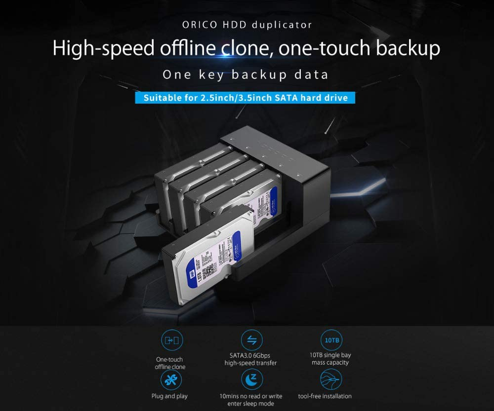 Support 5 X 10TB Hard Copy Machine Offline Cloning for Office YHML USB 3.0 to SATA Dual-Chassis External Hard Drive Docking Station for 2.5//3.5-Inch HDD SSD