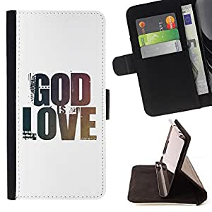 "BullDog Case - FOR/Apple Iphone 4 / 4S / - / ""GOD IS LOVE /- Monedero de cuero de la PU Llevar cubierta de la caja con el ID Credit Card Slots Flip funda de cuer"
