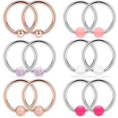 SCERRING 6 Pairs 14G Stainless Steel Captive Bead Ring Nipple Rings Hoop Cartilage Earrings Nipplerings Piercing Jewelry for Women Men 14mm Rose Gold