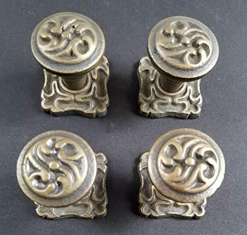 (4 Ornate Art Nouveau Ornate Brass Knobs, Pulls Hardware w. 1