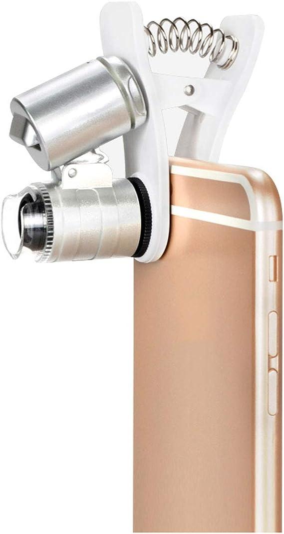 FDJWN Lupa Microscopio para Teléfonos Móviles con Luz LED y UV ...