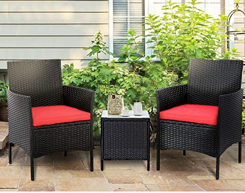 51JCts7C2WL. AC SUNCROWN 3-Piece Patio Bistro Set, Outdoor Black Wicker Chairs, Patio Furniture Set with Glass Table, Red Cushion    From the brand