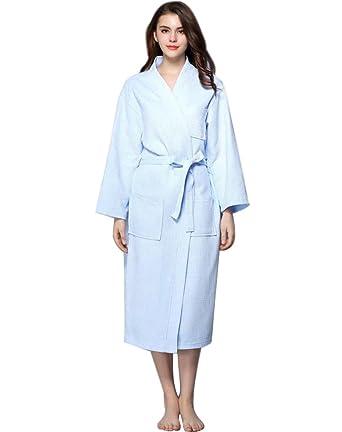 Minetom Women\'s Casual Waffle Bathrobe Tie Waist Dressing Gown ...