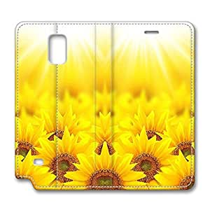 Brian114 Samsung Galaxy Note 4 Case, Note 4 Case - Leather Folio Flip Case Cover for Samsung Note 4 Sunflowers Under Light Customized Stand Leather Cases for Samsung Galaxy Note 4
