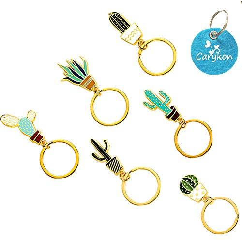 Carykon Creative Cactus Style Succulent Plant Shaped Keychain Key Ring Pendants, Set of 6 (Cactus) (Key Chain Plant)