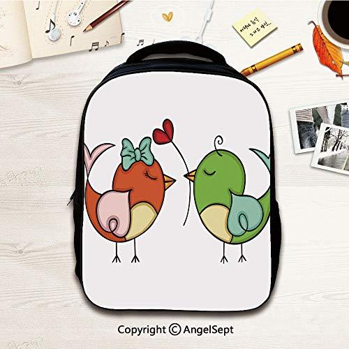 Kindergarten Preschool Bags,Couple love cute bird,12.2