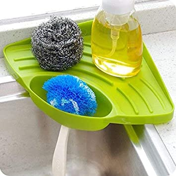 Inditradition Multipurpose Kitchen Sink Organizer Corner Tray (Plastic, Green)