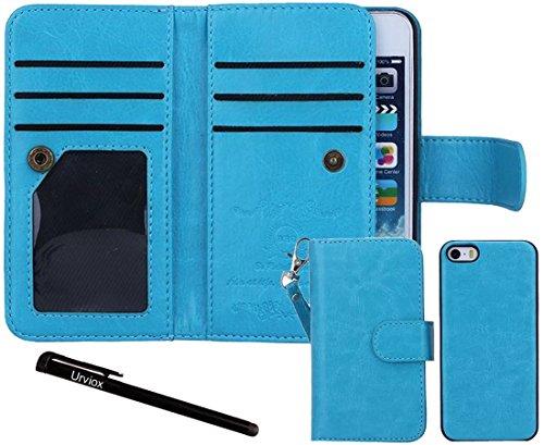 Urvoix iPhone SE Case, Wallet Leather Flip Card Holder Case, 2 in 1 Detachable Magnetic Back Cover for Apple iPhone SE 5 5S