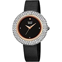 Burgi Women's BUR220BKR Swarovski Crystal & Diamond Accented Rose Gold & Black Stainless Steel Mesh Bracelet Watch