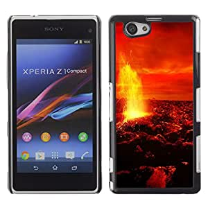 Qstar Arte & diseño plástico duro Fundas Cover Cubre Hard Case Cover para Sony Xperia Z1 Compact / Z1 Mini / D5503 ( Magma Lava Fire Venus Planet Red Sky Universe)