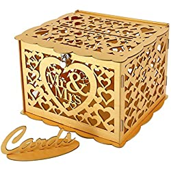 Artmag Wedding Money Box Holder with Sign, Large Rustic Wood Wooden DIY Envelop Gift Card Boxes with Lock Slot for Reception Anniversary Graduation Birthday Party Parties Baby Shower (Mr & Mrs, Gold)