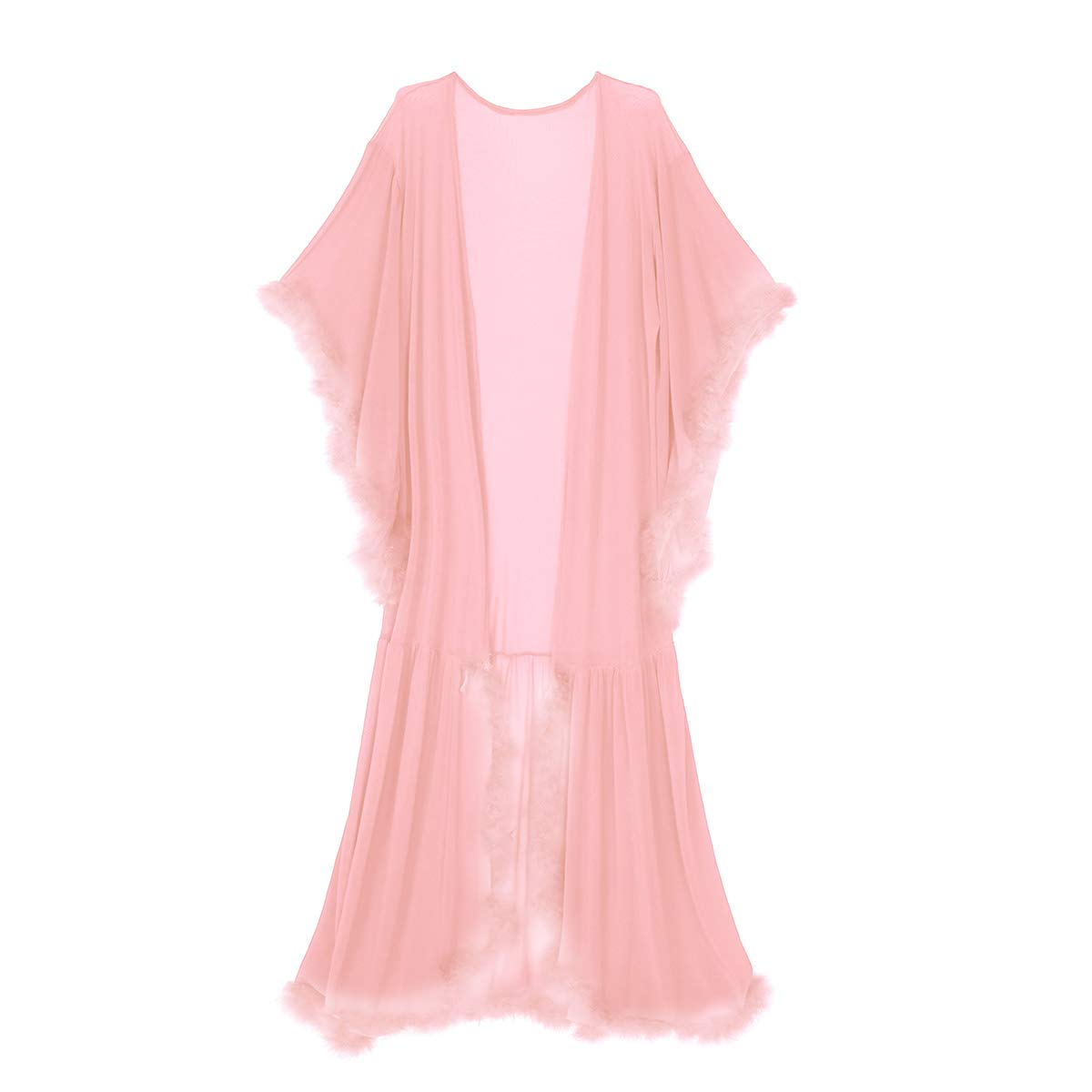 Amazon.com: Agoky Sexy Tulle Illusion Long Lingerie Robe Feather Bridal Robe Wedding Scarf Nightgown Bathrobe Sleepwear for Women Coral Pink One Size: ...