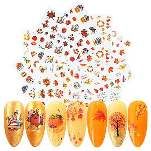 Fall Nail Art stickers Thanksgiving Nail Decals Accessories 12 Sheets Maple Leaves Pumpkin Water Transfer Autumn Nail Stickers for Women Girls Fingernail Toenail Decoration Manicure Tips Tattoos