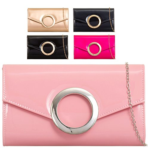 Evening Party Black KZ2032 Women's Patent Handbag Envelope Bridal Bag EAMUK Cocktail Clutch Ladies fc7pYWFaqF