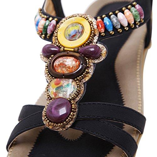 fereshte Womens Casual Slip-on Bohemian Beads Flat Dress Beach Sandals No.801 Black vcLylRrD