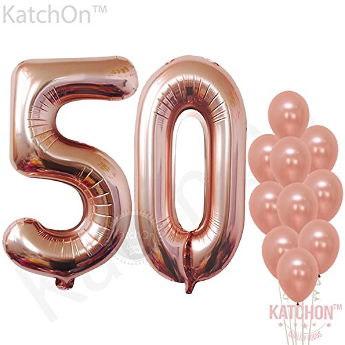 Rose Gold 50 Number Balloons - Large, 5 and 0 Mylar Rose Gold Balloons, 40 Inch | Extra Pack of 10 Latex Baloons, 12 Inch | Great 50th Birthday Party (50 Birthday Decoration)