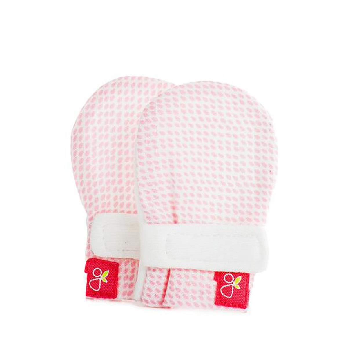 Goumi Kids Baby-Girls Goumimitts Soft Stay On Scratch Mittens - Stops Scratches and Germs 0-3 Months Drops Pink GK1005
