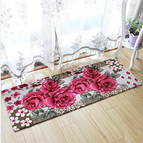 WYMBS Anti-slip padcm long mats kitchen door entrance door mat living room has a non-slip pad bedroom water absorption wc carpet ,45240cm rose