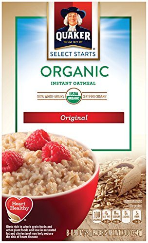 Quaker Instant Oatmeal, Organic Regular, 8 Ounce