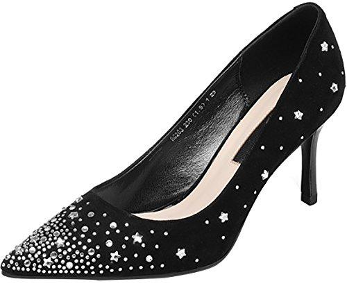 Calaier Femmes Calaaen Talon Pointu 7.5cm Pompes À Enfiler Chaussures Noir