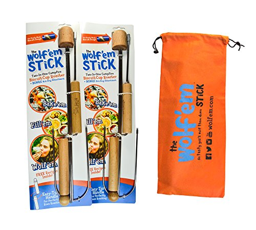 The Wolfem Stick  2 In 1 Premium Hot Dog And Marshmallow Roasting Stick With Wooden Rotary Handle And Unique Biscuit Cup Roasting Attachment  32 Inches  Pack Of 2  W  Bag By Campfire Industries